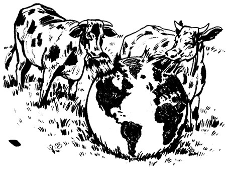 Cartoon of cows eating the entire globe