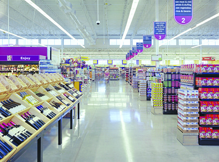 Grocery store with efficient lighting and daylighting
