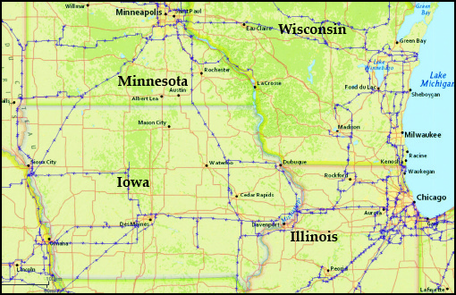 Map of Iowa transmission lines connecting to other states